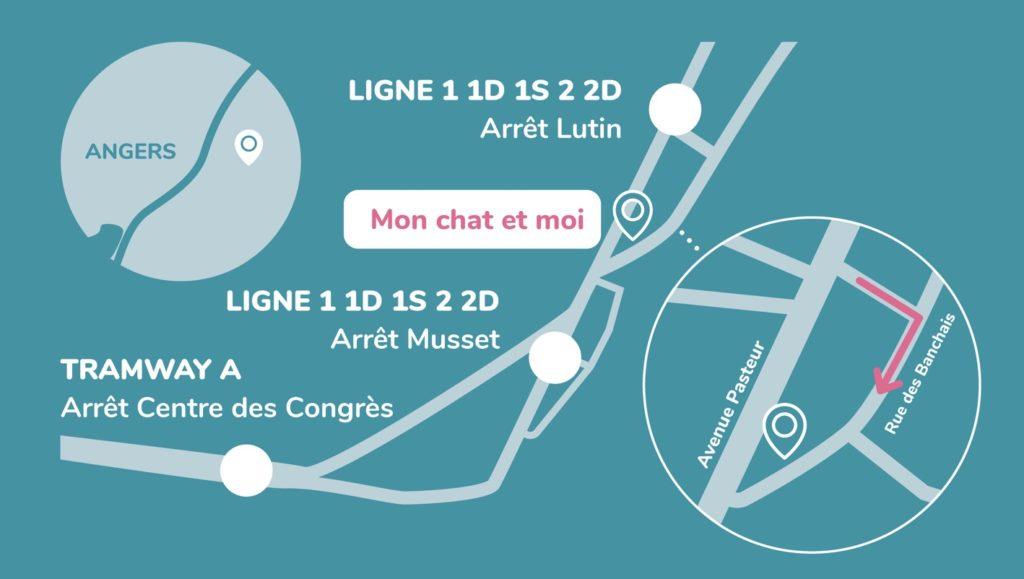 Plan pour accéder à la clinique vétérinaire Mon Chat et Moi à Angers